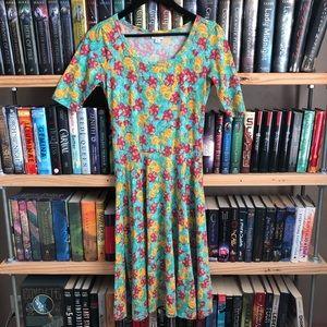 LuLaRoe Floral Print Fit & Flare Nicole Dress S